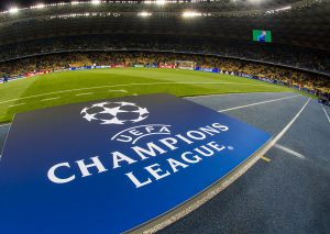 UEFA 2021 - Champions League logo at football stadium